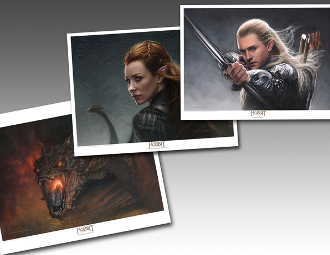 Smaug Legolas and Tauriel three pack Lithograph set